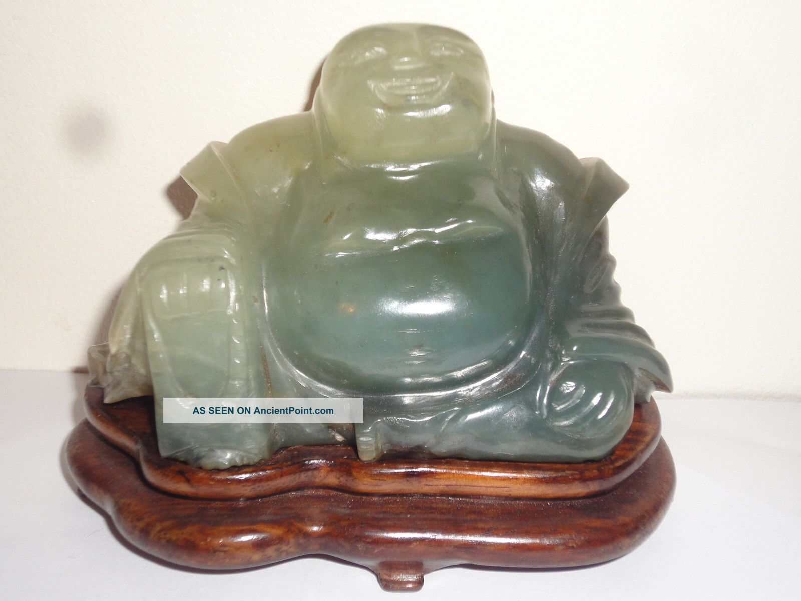 Vintage Chinese Jade Hardstone Carved Buddha With Wooden Stand Buddha photo
