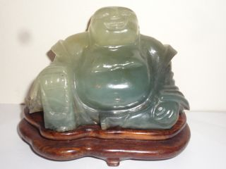 Vintage Chinese Jade Hardstone Carved Buddha With Wooden Stand photo
