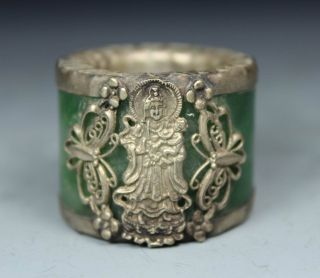 Chinese Handwork Kwan - Yin Old Jade Ring photo