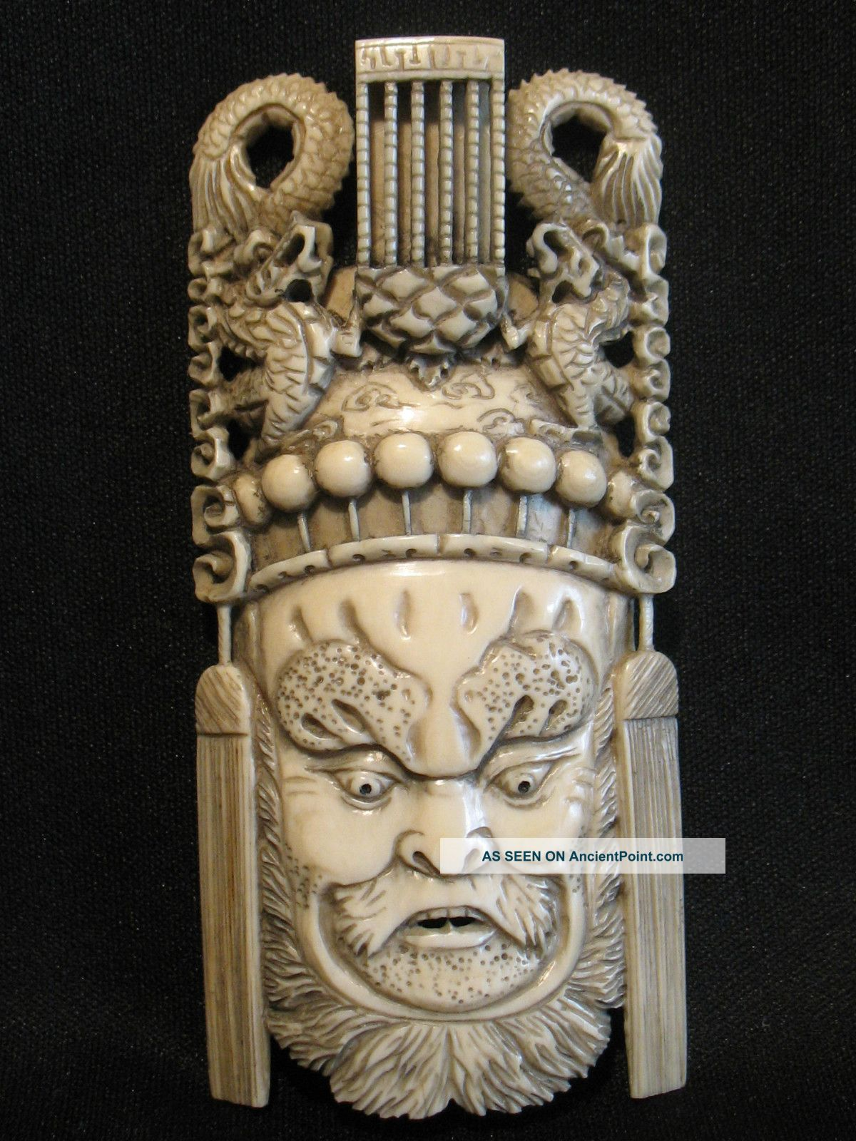 Antique Ox Bone 象牙 Chinese Carved Emperor Dragon Mask Plaque Carving Good Cond. Buddha photo