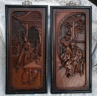 Pair Of Antique Chinese 19cth Wooden Carved Panels photo