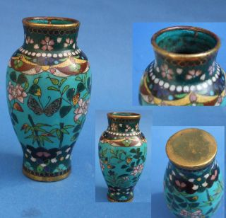 19th C Cloisonne Vase With Butterflies & Flowers.  Antique Cloisonne Vase Decorat photo