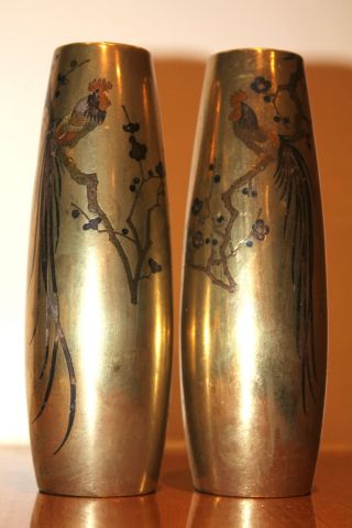 19th Cent Pair Of Japanese Antique Meiji Inlaid Bronze Vases Signed, photo