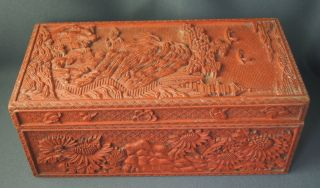 Excellent Antique 18 / 19th C Chinese Qing Qianlong Carved Wooden & Lacquer Box photo