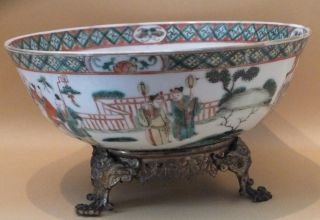 Chinese Handpainted Famille Verte Bowl & Stand Qianlong C1736 - 95 photo