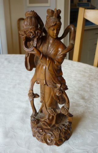 Antique Oriental Chinese / Japanese Carved Box Wood Figure With Basket photo