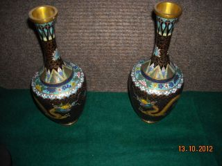 Unusual Pair Chinese Cloisonne Vases Bottle Shaped Millers Antiques photo