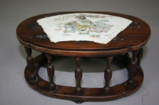 19th Century Rosewood Stand Inlaid Porcelain Plaque photo