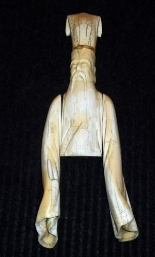 Ancient Chines Or Japanese Statue Of A Priest Faux Ivory Walrus Ivory photo