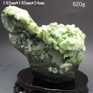 100% Natural Dushan Jade Hand - Carved Statue - Peony Flower Nr/pc2392 photo