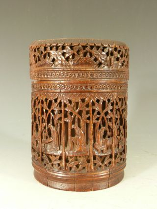 Chinese Carved Bamboo Brushpot And Cover 19thc photo