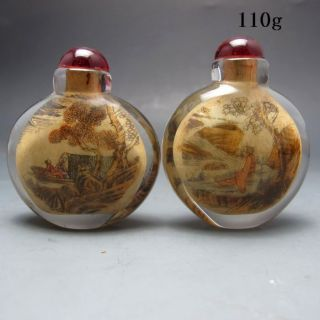 2pcs Chinese Inside Hand Painted Glass Snuff Bottle Nr/bg2065 photo