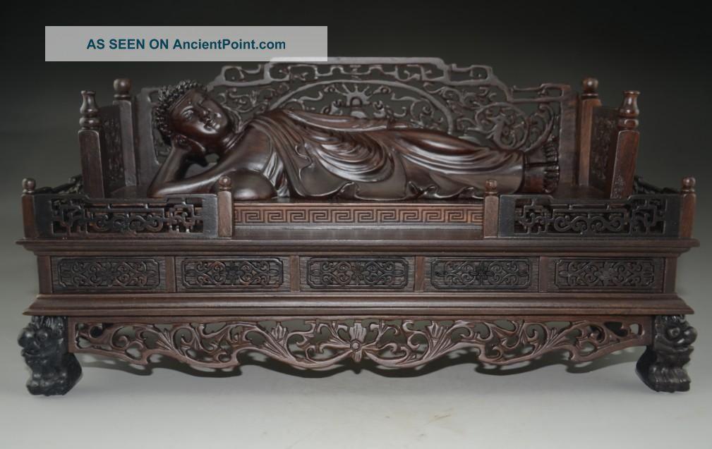 Rare Chinese Rosewood Hand - Carved Huge Sleeping Buddha Nr Buddha photo