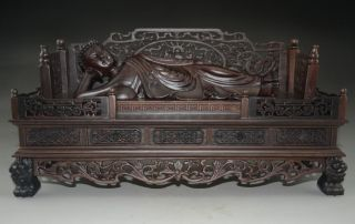 Rare Chinese Rosewood Hand - Carved Huge Sleeping Buddha Nr photo