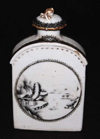18th C Antique Chinese Export Porcelain Tea Caddy W/ Black Scenic Motif photo