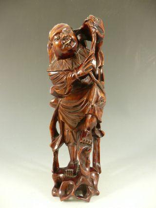 Chinese Carved Wood Figure Of An Immortal Li Tieh Kuai 19thc photo