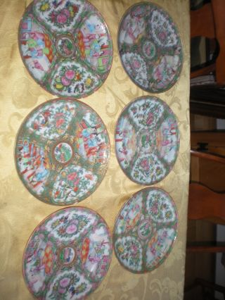 Lot Antique Chinese Rose Medallion 6 Plates 8 1/2