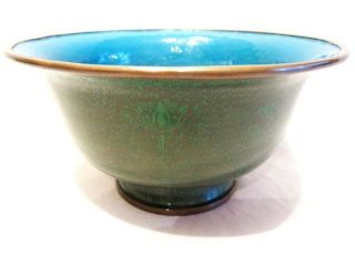 Antique Estate Chinese Cloisonne Enamel Bowl Green Gold photo