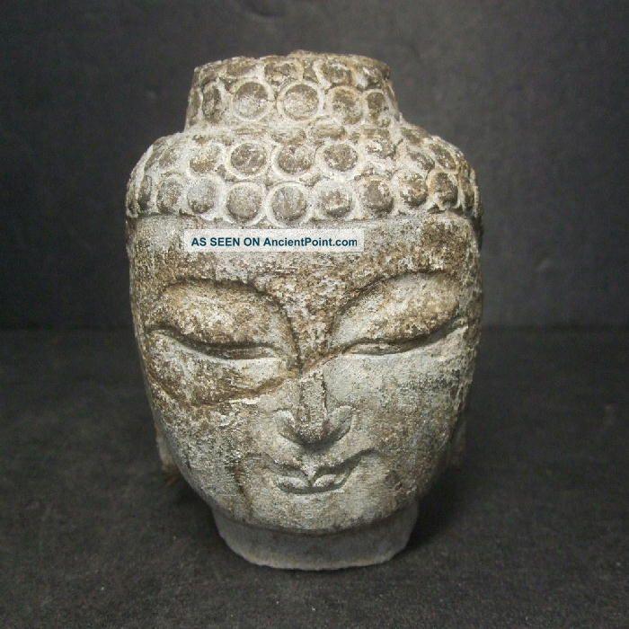 F733: Chinese Or Tibetan Stone Ware Statue Head Of A Buddha Statue Butto Buddha photo