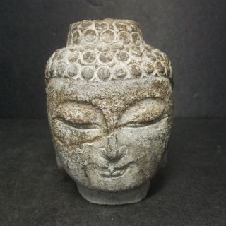 F733: Chinese Or Tibetan Stone Ware Statue Head Of A Buddha Statue Butto photo