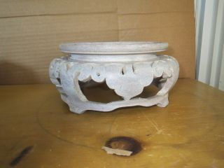 Antique/vintage Chinese Carved Wood Huge Display Plate,  Bowl,  Vase,  Statue Stand Nr photo