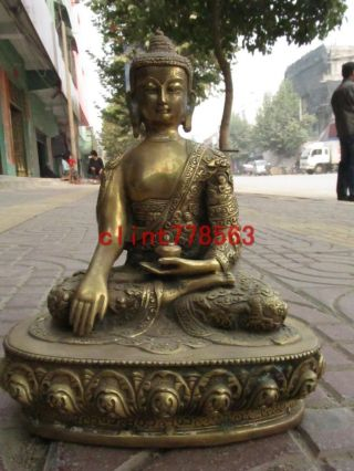Tibet Buddhism Fane Brass Dragon Sakyamuni Buddha Statue photo