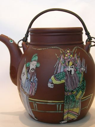 Signed Antique Chinese Yixing Teapot Enamel Decoration Opera Figures photo
