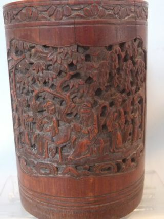 18th C Carved Chinese Bamboo Brush Pot With Figural Scenes & Script Decor photo