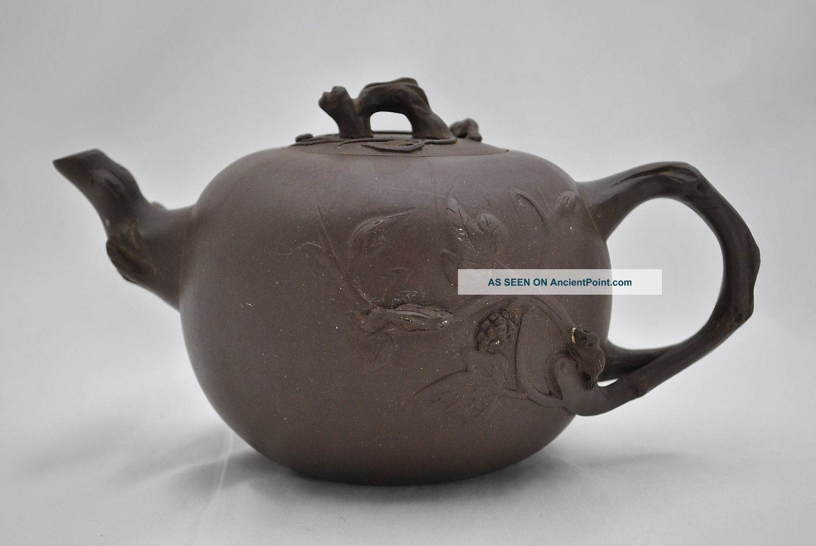 Old Yixing Buccaro Chinese Clay Teapot With Foo Dog And Squirrels On Branches Teapots photo