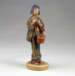 Fine 19thc Meiji / Taisho Japanese Satsuma Kutani Porcelain Flute Player Statue photo