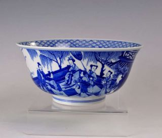 Chinese Antique Blue And White Porcelain Bowl Figure Design photo