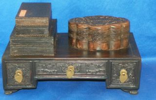 Chinese Scholar ' S Desk Set Harved Hardwood 19th Century photo