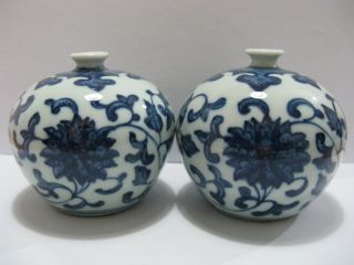 A Pair Rare China Blue And White Porcelain Vases photo