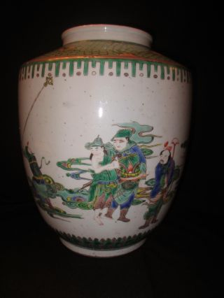 Large & Rare Antique Chinese Famille Verte Porcelain Vase photo