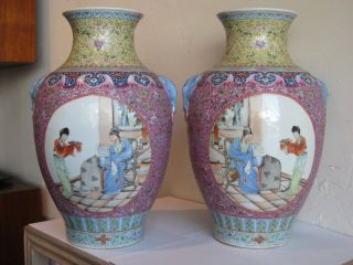 Fine Old Pair Of Chinese Famille Rose Porcelain Vases photo