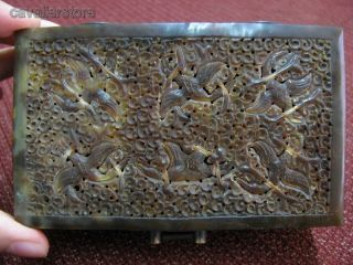 Chinese Oxhorn Carved Crane & Cloud Pattern Box / Case / Casket photo