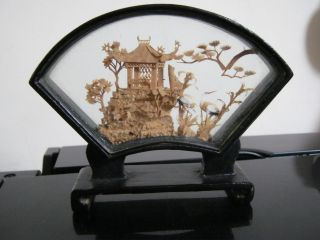 Vintage Chinese Hand Carved Cork Diorama By San You photo