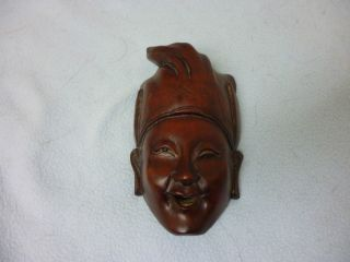 Antique Chinese Face Mask Inlayed Bone Eyes And Teeth photo