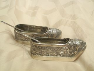C1890 Novelty Chinese Export Silver Table Salts Dragons On Geisha Lotus Shoes photo