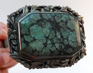 Large Antique Chinese Turquoise Brooch Clip Carved & Repoussed Marked China photo