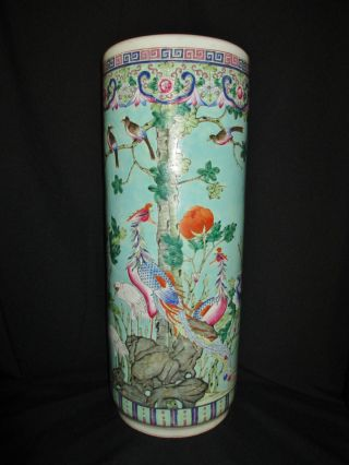 Amazing & Rare 19th C Antique Chinese Porcelain Famille Rose Umbrella Stand Vase photo
