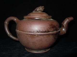 Elegant China Yixing Zi Sha Carved Gold Silk Teapots photo