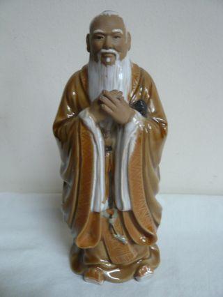 Vintage Chinese Mudman - Bearded Wise Man / Scholar.  ' 378 China ' Mark.  Glazed. photo