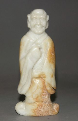 Ancient China Jade Chinese Hetian Jade Hand - Carved Jade Statue Buddha 4inch photo