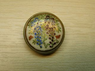 Japanese Satsuma Floral Brooch On Silver Metal Mount photo