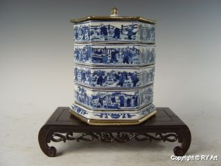 Stunning Chinese Gilded Blue White Porcelain Boxes 8