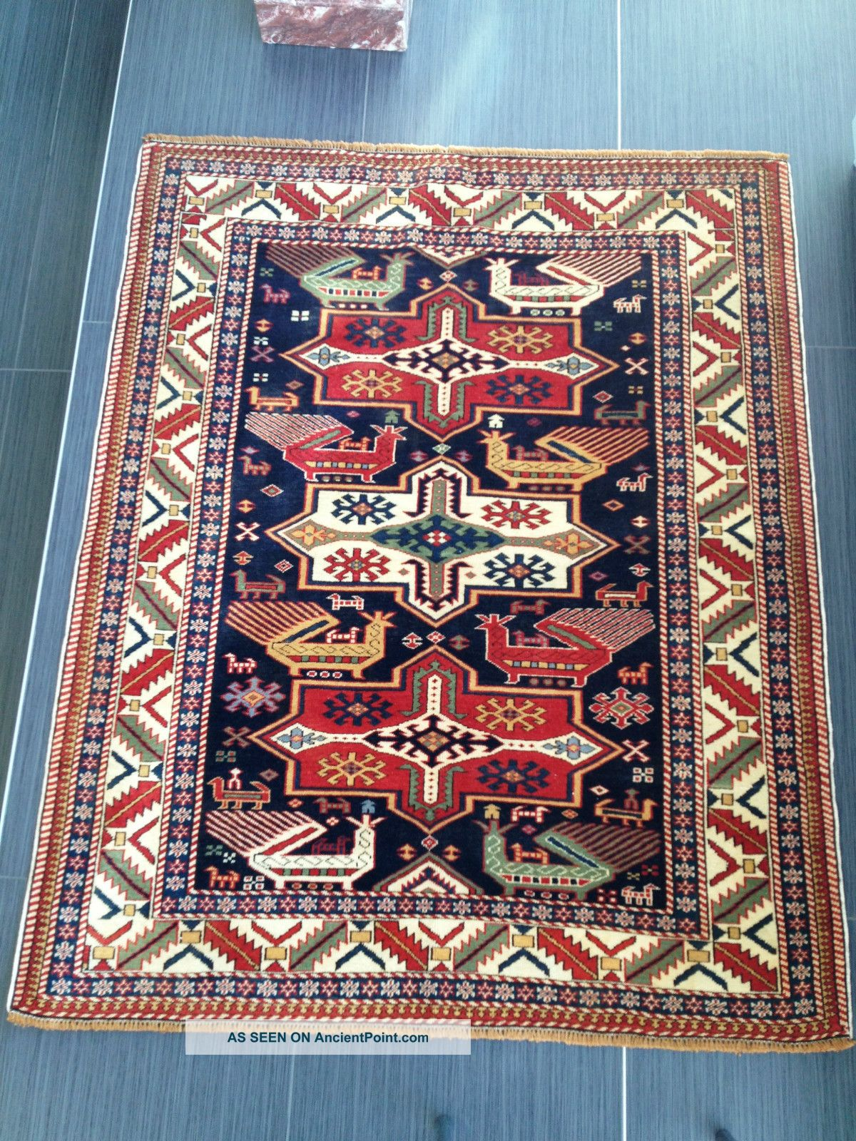 Antique Shirvan Caucasian Kazak Russian Oriental Wool Carpet Rug Very Fine Birds Other photo