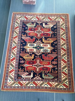 Antique Shirvan Caucasian Kazak Russian Oriental Wool Carpet Rug Very Fine Birds photo