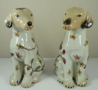 Pair Chinese Porcelain / Pottery Dog Figure Painted With Roses - Red Seal Mark photo