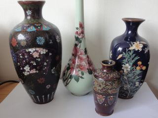 Collection 4 Antique 19thc Japanese Meiji Period Cloisonne Vases Silver Wire Af photo